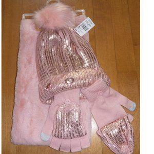Limited TOO Rose Gold Hat Gloves & Snood Set NWT